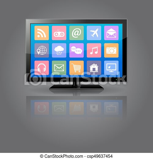 Smart TV with apps icons - csp49637454