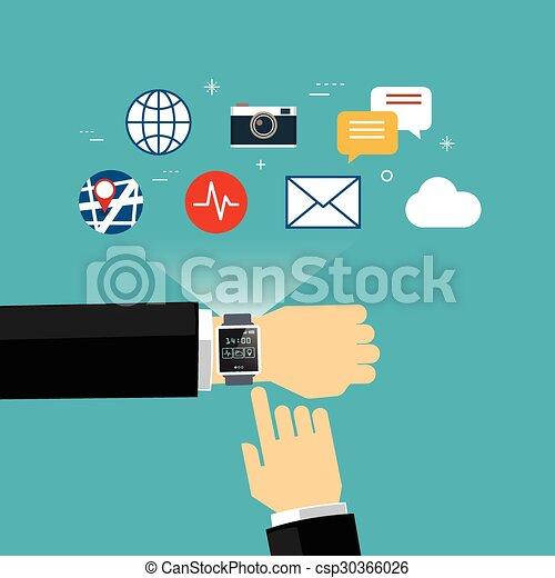 smart watch concept flat design - csp30366026