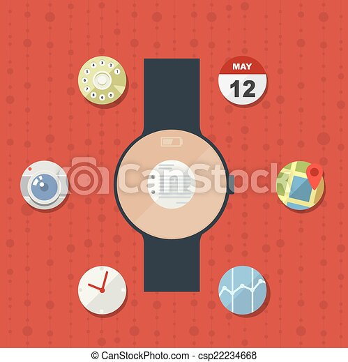 Smart watch concept with icons in modern flat design - csp22234668