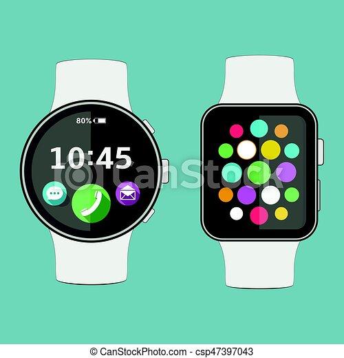 Smart watch flat design - csp47397043