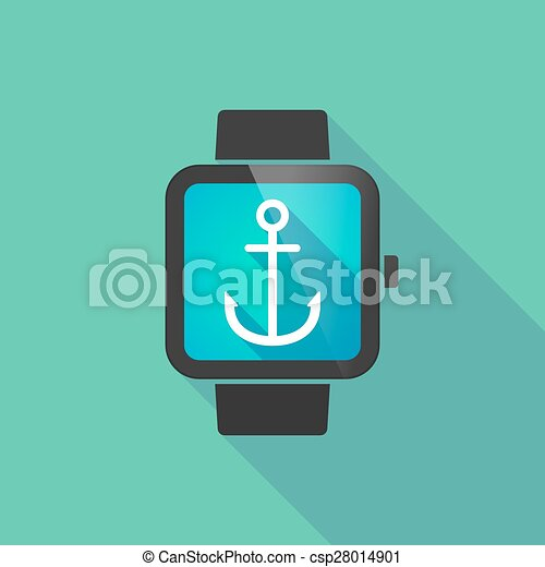 Smart Watch With An Anchor Long Shadow Smart Watch With An Anchor