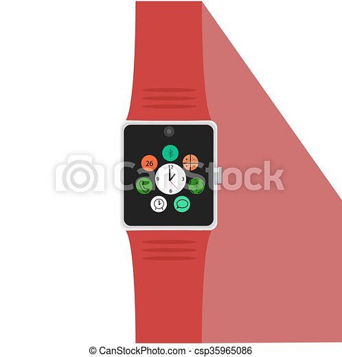 Smart watch with icons. Flat concept. Vector illustration - csp35965086