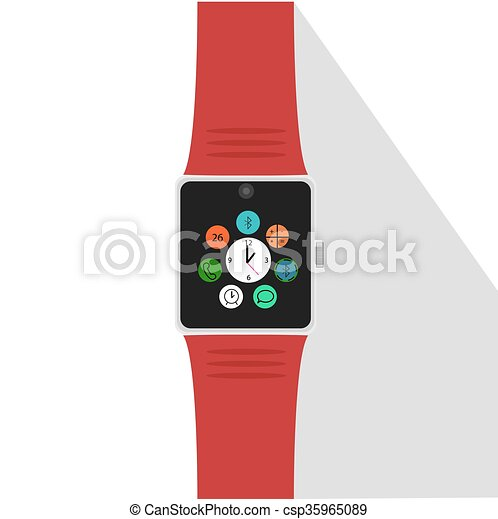 Smart watch with icons. Flat concept. Vector illustration - csp35965089