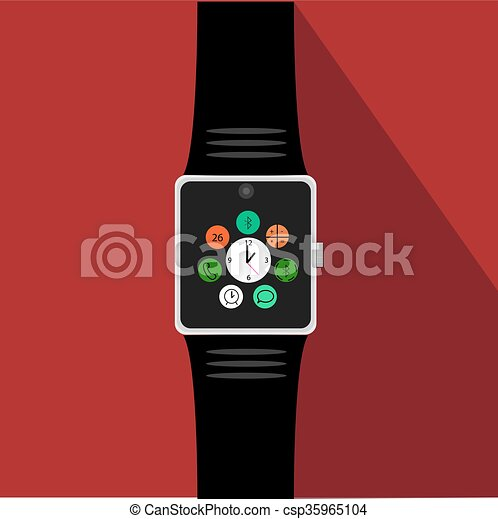 Smart watch with icons. Flat concept. Vector illustration - csp35965104