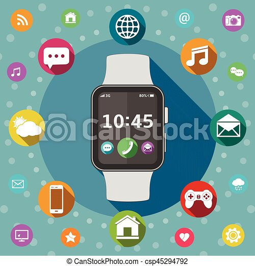 Smart watch with icons, flat design concept - csp45294792