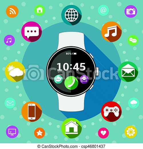 Smart watch with icons flat design - csp46801437