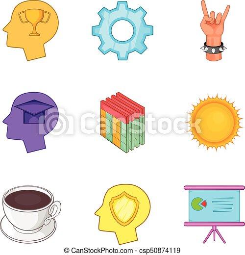 Smart worker icons set, cartoon style - csp50874119