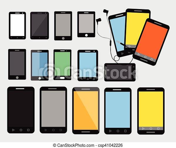 smartphone, ベクトル, 現代, コレクション - csp41042226