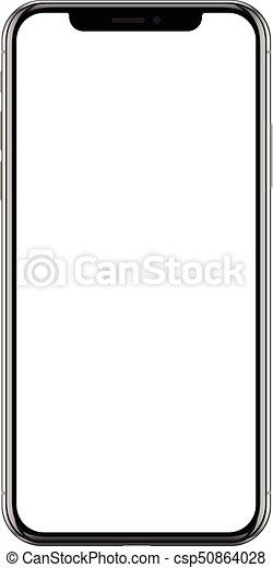 smartphone, 電話, モビール, ブランド, 現実的, 黒, 新しい - csp50864028