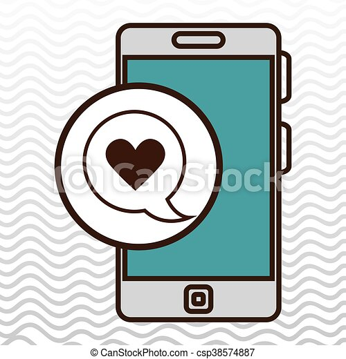 smartphone and heart black isolated icon design - csp38574887