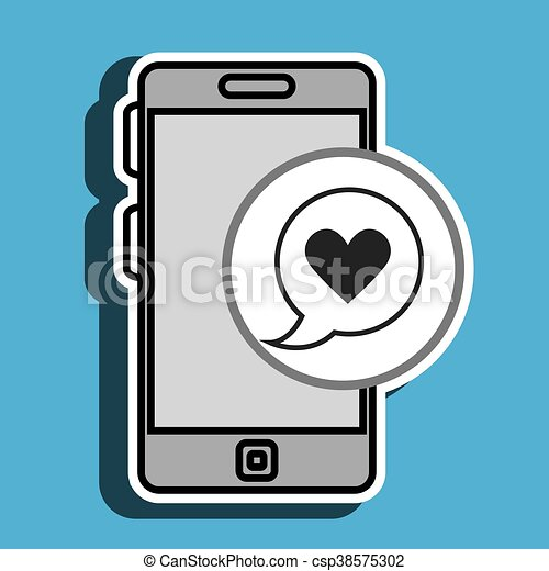 smartphone and heart black isolated icon design - csp38575302