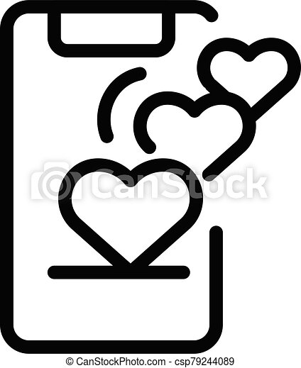 Smartphone and hearts icon, outline style - csp79244089