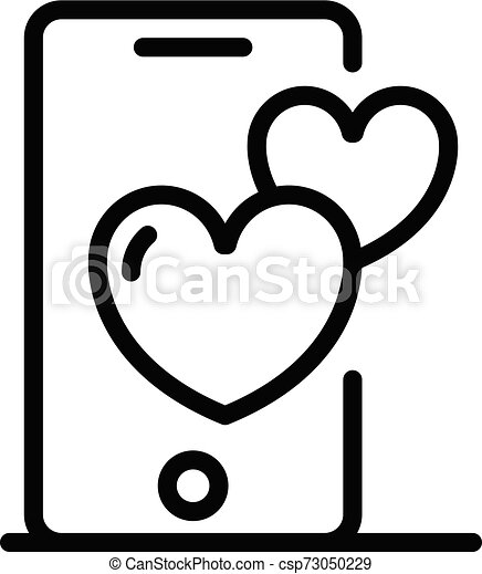Smartphone and hearts icon, outline style - csp73050229