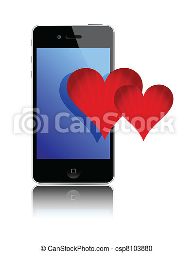 Smartphone and love hearts - csp8103880