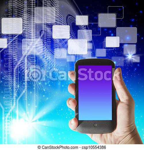 smartphone, ciao-tecnologia, mano, fondo, futuristico, mostra - csp10554386