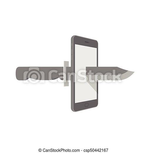 Smartphone con cuchillo configurar Internet concepto de ciber-crimen idea ilustración aislada en el fondo blanco, con espacio copiado - csp50442167