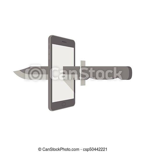 Smartphone con cuchillo configurar Internet concepto de ciber-crimen idea ilustración aislada en el fondo blanco, con espacio copiado - csp50442221