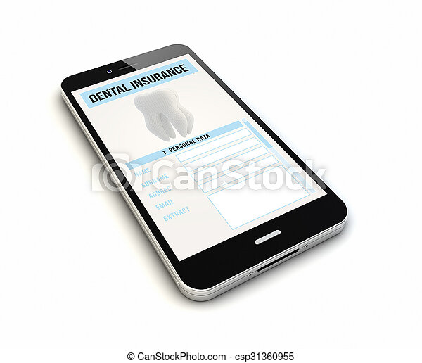 smartphone dental insurance render - csp31360955