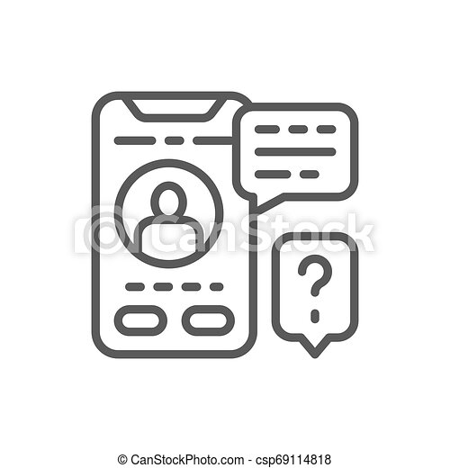 Smartphone display with messages line icon. - csp69114818