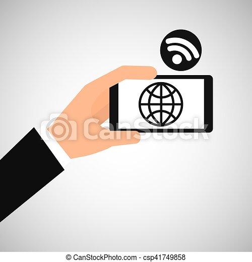 smartphone globe internet wifi icon - csp41749858