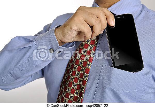 smartphone, handlowy, dzierżawa, człowiek - csp42057122