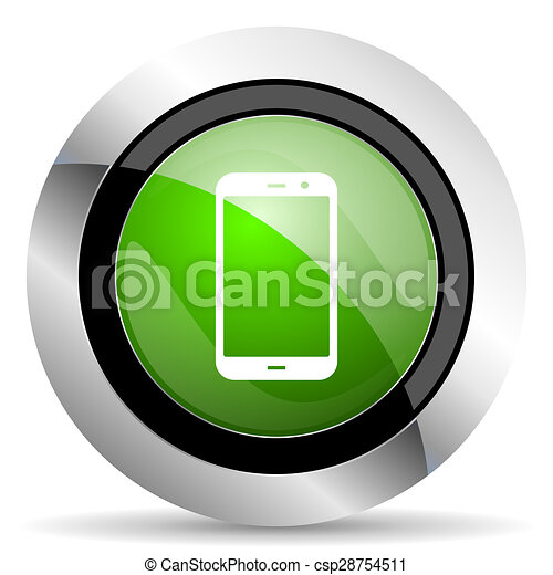 smartphone icon, green button, phone sign - csp28754511