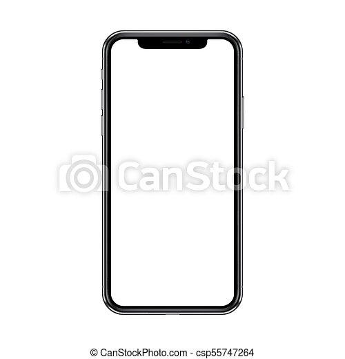 smartphone, illustration., arrière-plan., screen., isolé, réaliste, vecteur, vide, blanc - csp55747264