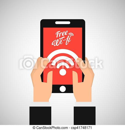smartphone internet free wifi icon - csp41748171