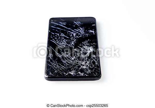 smartphone, isolerat, white., bruten, avskärma - csp25503265