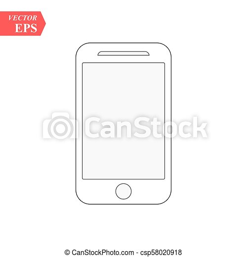 Smartphone line icon in iphone style. Cellphone pictogram in trendy flat style isolated on white background. Telephone symbol for your web site design, logo, app, UI. Vector illustration, EPS 10. - csp58020918