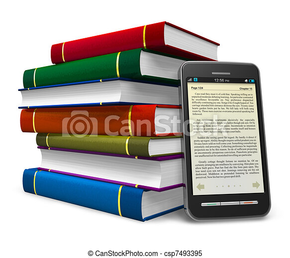 smartphone, livre, électronique - csp7493395