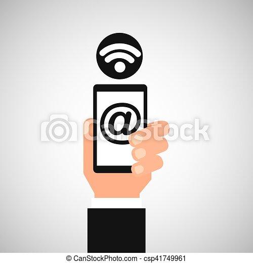 smartphone mail wifi icon - csp41749961