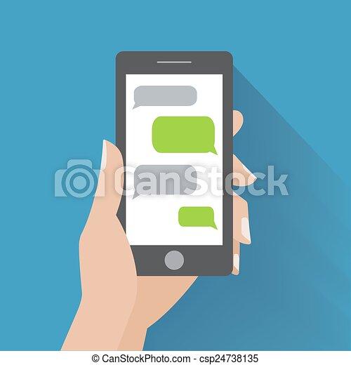 Mano sosteniendo smartphone con burbujas de habla en blanco - csp24738135