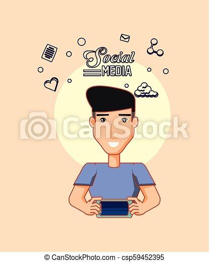 smartphone, media, cyfrowy, avatar, towarzyski, używając, człowiek - csp59452395