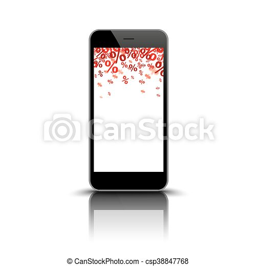 Smartphone Mirror Red Percents - csp38847768