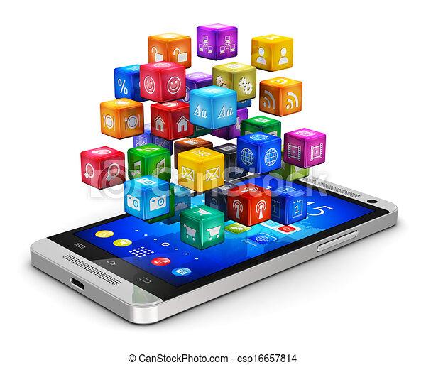 Teléfono inteligente con nube de iconos - csp16657814