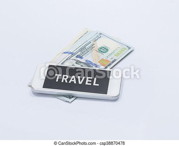 smartphone, parola, banconota, viaggiare, dollaro, ci, schermo - csp38870478