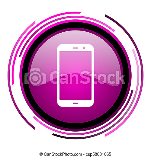 Smartphone pink glossy web icon isolated on white background - csp58001065