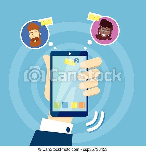 smartphone, réseau, communication affaires, sms, main, cellule, concept, social, message, prise, homme - csp35738453