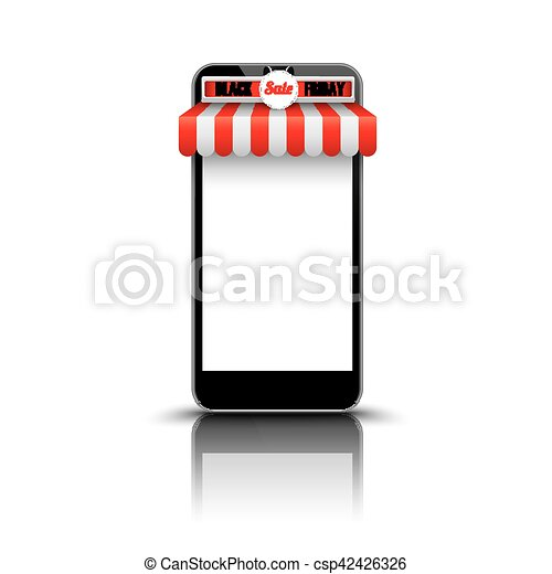 Smartphone Red White Awning Black Friday - csp42426326