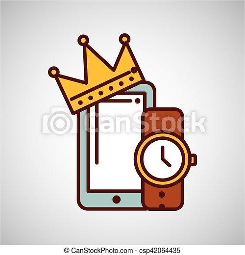 26accb7c4 Smartphone, regalo, reloj, padre, día, icono. 10, smartphone, regalo ...
