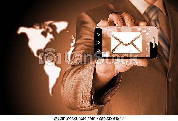 smartphone, schirm, eins, besitz, neu , nachricht, mann - csp23994947