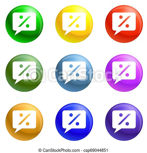 smartphone, set, procent, tabel, iconen - csp69044851