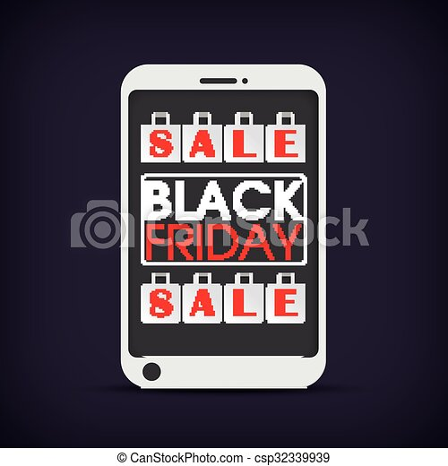 Smartphone Shopping Bags Black Friday - csp32339939