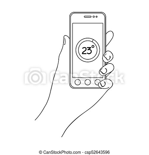 Smartphone, single icon in outline style.Smartphone, vector symbol stock illustration web. - csp52643596