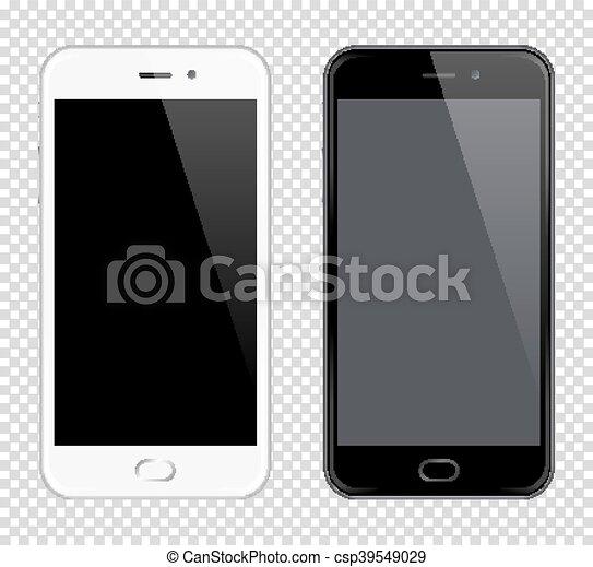 smartphone, téléphones mobiles, mock-up., réaliste, vecteur, téléphone., fond, noir, blanc, transparent - csp39549029