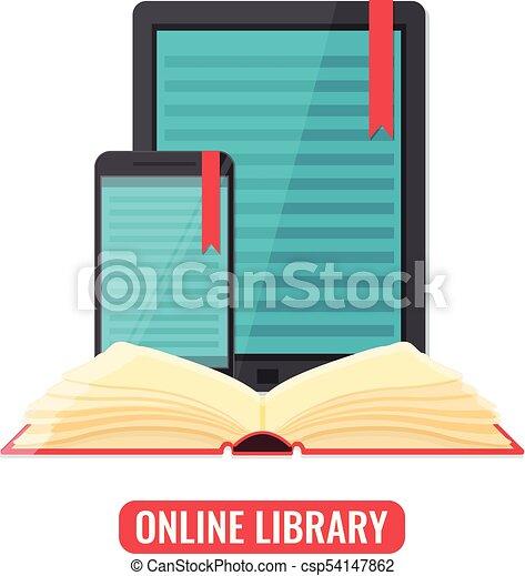 smartphone, tablet, toepassing, computer, lezer, boek - csp54147862