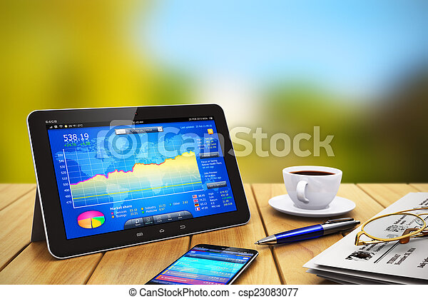 Computadora de tablets, smartphone y otros objetos de negocios en madera - csp23083077