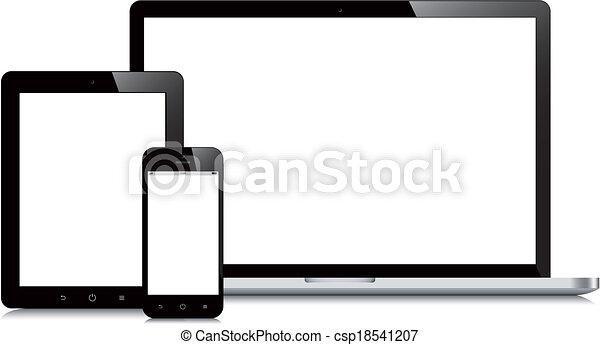 Laptop Smartphone und Tablet-Hotup weißer Hintergrund - csp18541207
