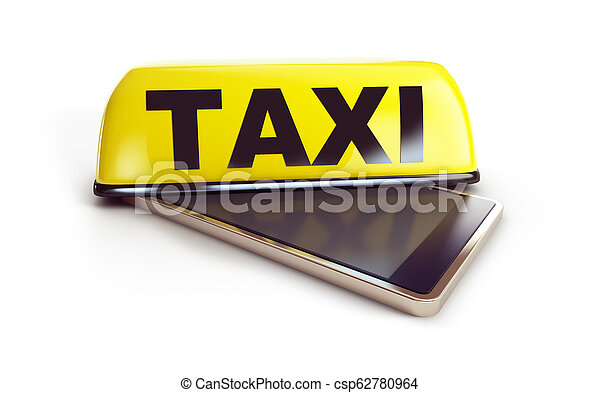 smartphone taxi on a white background 3D illustration, 3D rendering - csp62780964